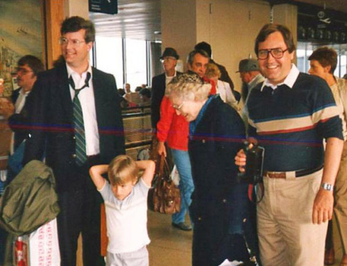 1986 Nancy, Livie and Jean Gwinn Riboud Are Greeted at O'Hare Airport by Andy and Bill Bowe